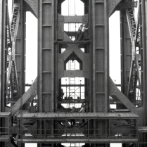 Construction of one of two anchorages, one on each side of the Hudson.