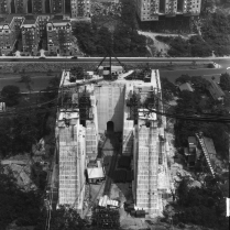 The New Jersey tower was built off-shore on concrete and stone foundations that rest on solid ground deep beneath the bed of the Hudson River. The Manhattan foundations and tower were built on land.