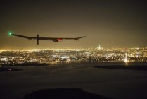 Solar Impulse 1 with the New York/New Jersey region in the background.