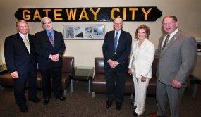 Left to right: Rick Larrabee, departing Director of Port Commerce; Patrick Foye, Executive Director of the Port Authority; Charles Cushing, who served as 3rd mate on the Gateway City while a student at MIT; Lillian Borrone, former Director of Port Commerce; and Jim Devine, former CEO of Global and New York Container Terminal, who donated the name plate to the Port Authority