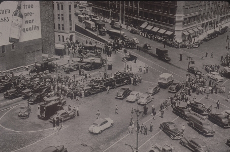 Since the opening of the Holland Tunnel in November 1927, a number of minor fires had occurred within the tunnel, all of which were handled without incident. In the spring of 1949, an unusual fire underscored the potential hazards that exist in the day-to-day transport of hazardous materials through the tunnel. The fire started around 8:30 a.m. when a drum of carbon disulfide fell off a trailer truck on Friday, May 13 about a third of the way into the tunnel. The highly flammable chemical leaked out onto the hot surfaces of the truck. In 1949, trucks were required to display decals to signify the transportation of dangerous cargo. This tractor-trailer entered the tunnel without decals, and police were completely unaware of the potentially hazardous chemicals moving through the tunnel. Had they known, the fire might never have occurred as the truck would have been redirected to one of the bridges instead.