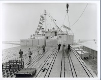 The crane placed a container on the deck of the Ideal X every seven minutes. The ship was loaded in less than eight hours and set sail on her maiden voyage the same day, April 26, 1956.