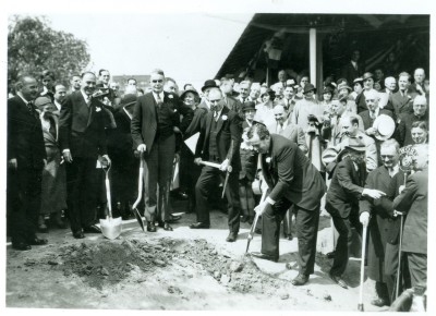 A traditional groundbreaking ceremony took place on Thursday, May 17, 1934 with separate exercises on either side of the Hudson River.