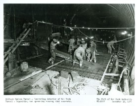 Workers installed the framework for pouring the concrete slab in which roadway would be supported. A movable frame supports the ceiling and the sides of the walls. 12. Like the Holland Tunnel, the Lincoln Tunnel in cross-section was constructed like a box within a circle. As the work proceeded, these workers install fresh air ducts underneath the roadway and exhaust ducts above the ceiling to accommodate the ventilation system.
