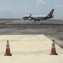 Jet taxies onto portion of Runway 4Left-22Right still in use during early phase of construction work at John F. Kennedy International Airport. Runway is now fully closed for remainder of work that is scheduled for completion on Sept. 21.