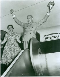 PRESIDENT DWIGHT EISENHOWER AND WIFE MAMIE ARRIVE AT JFK PRIOR TO HIS ADDRESS TO THE GENERAL ASSEMBLY OF THE UNITED NATIONS IN 1958
