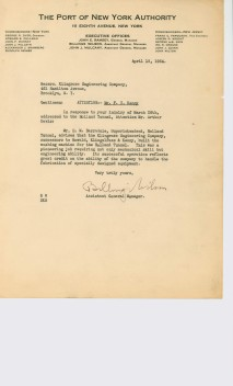 This letter, which authenticates the work, was sent to the firm by the Port of New York Authority in 1934.