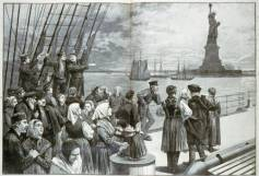 "Welcome to the land of freedom: New York. This sketch by a staff artist of the WPA depicts immigrants on the deck of the steamer ""Germanic"""