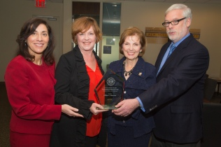 "From left: Denise Berger; Mary Lee Hannell, Chief Human Capital; Lillian Borrone, Keynote Speaker and Pat Foye, Port Authority Executive Director Pat Foye. Borrone received the Port Authority ""First International Women's Day Award"""