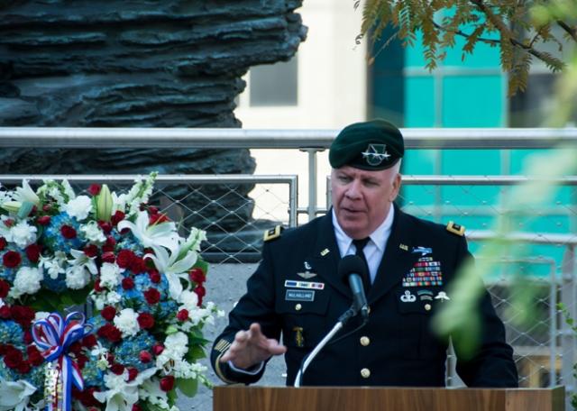 Lt. Gen. John F. Mulholland speaks at America's Response statue dedication