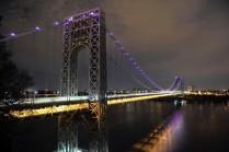The illuminated George Washington Bridge