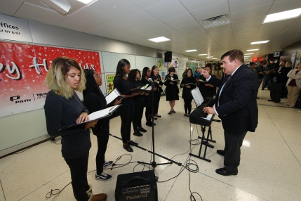 Jersey City Arts Vocal Program sang Christmas carols for PATH Poster Contest ceremony